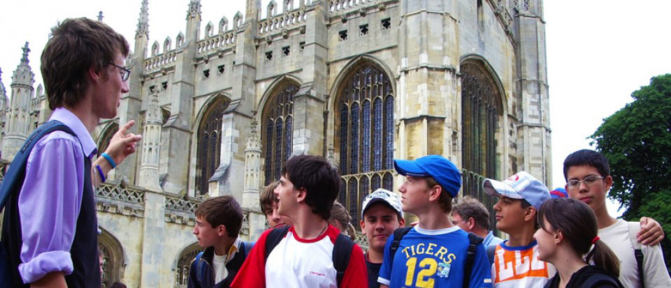 Short course students in front on King's College chapel in Cambridge